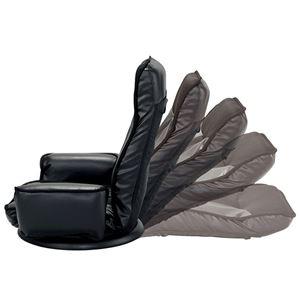 TVが見やすい肘付回転座椅子/リクライニングチェア 【1脚・ブラック】 張地: 合成皮革/合皮 ポケット付き