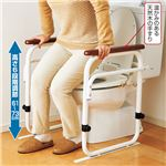 洋式トイレ据置用アーム/トイレ用手すり 【ホワイト】 スチールパイプ 高さ6段階調整可 日本製