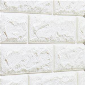 ドリームクッションレンガ/レンガ風壁紙 【ホワイト 3枚組】 大判タイプ 70cm×77cm シールタイプ 〔保温 防音 衝撃緩和〕 - 拡大画像