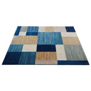 ベルギー製ウィルトンラグマット/絨毯 【正方形/約200×200cm ブルー】 ヒートセット加工 『スタイリッシュブロック』 - 拡大画像
