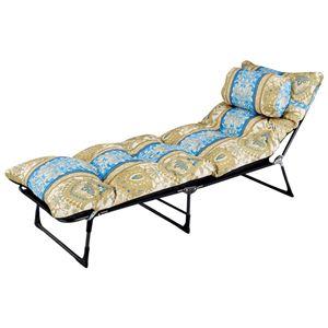 枕・ごろ寝布団付き リクライニングベッド 【セミシングル ブルー系】 6段階 折りたたみ スチールパイプ製フレーム - 拡大画像