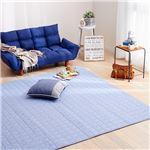 デニム調ふんわりウォッシャブルキルトラグマット/絨毯 【ライトブルー 約130cm×185cm】 長方形 洗える 綿100% 滑り止め付き