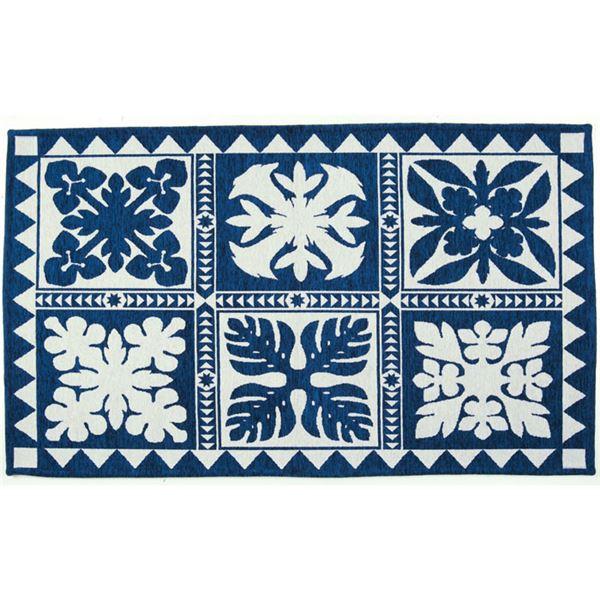 ハワイアン柄ゴブランシェニールラグマット/絨毯 【長方形 約70cm×120cm】 カプア ブルー 〔リビング 寝室 ダイニング〕