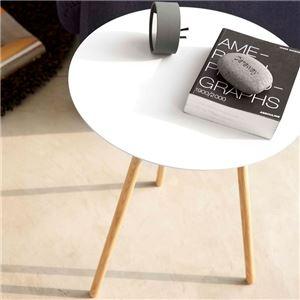 おしゃれな丸型シンプルデザインテーブル ホワイト - 拡大画像