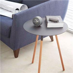 おしゃれな丸型シンプルデザインテーブル ブラック - 拡大画像