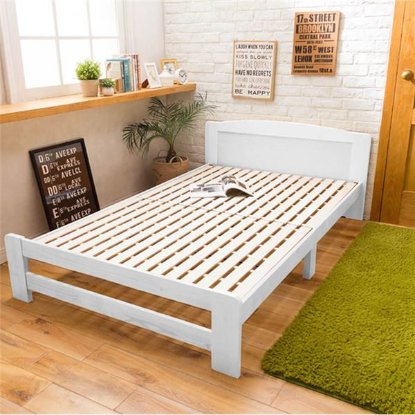 すのこベッド【ベッドフレームのみ】天然木 すのこベッド 木製 パイン材 ホワイト画像01