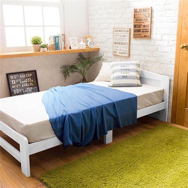 すのこベッド【ベッドフレームのみ】天然木 すのこベッド 木製 パイン材 ホワイト画像02