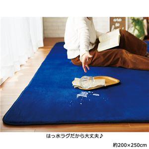 撥水!厚みふかふかボリュームタッチラグマット/絨毯 【ネイビー 約200cm×250cm】 厚み約18mm 長方形 折りたたみ