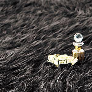 ふんわりボリューム!防炎シャギーラグマット/絨毯 【ブラック 約190cm×190cm】 正方形 日本製 折りたたみ - 拡大画像