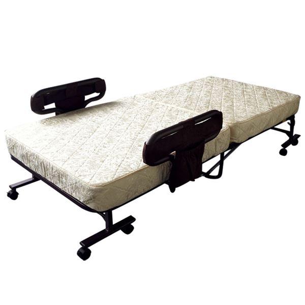 組立不要 マットが選べる電動ベッド(折りたたみベッド・リクライニングベッド・コイルマットレスベッド) 【ポケットコイルタイプ】 ブラウン