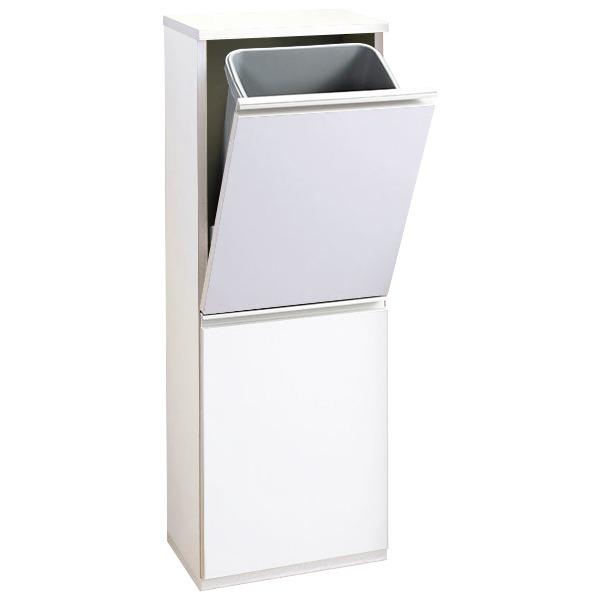 奥行約25cmのスリムなゴミ箱。ダイニングやリビングでも大活躍の「薄型ダストボックス 【幅35cm】 ホワイト」