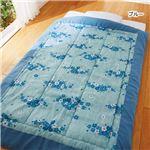 楊柳 肌掛け布団 【シングル ブルー】 日本製 綿100% 〔寝室 寝間 ベッドルーム〕