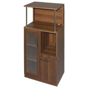キッチンなんでも収納庫/キッチン収納 【ダークブラウン 幅59.8cm】 天板 スライドテーブル付き - 拡大画像
