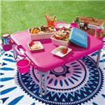 パピヨン レジャーテーブル/折りたたみテーブル 【ピンク】 幅55cm 日本製 プラスチック製 『キャンパーズコレクション』