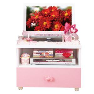 可愛い テレビ台/テレビボード 【ピンク 幅60cm】 家電収納可 キャスター付き 『リボン家具』