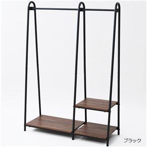 木目調 ハンガーラック/コートハンガー 【ブラック】 幅106.5cm スチール製 耐荷重約90kg 棚板2段 脚付き