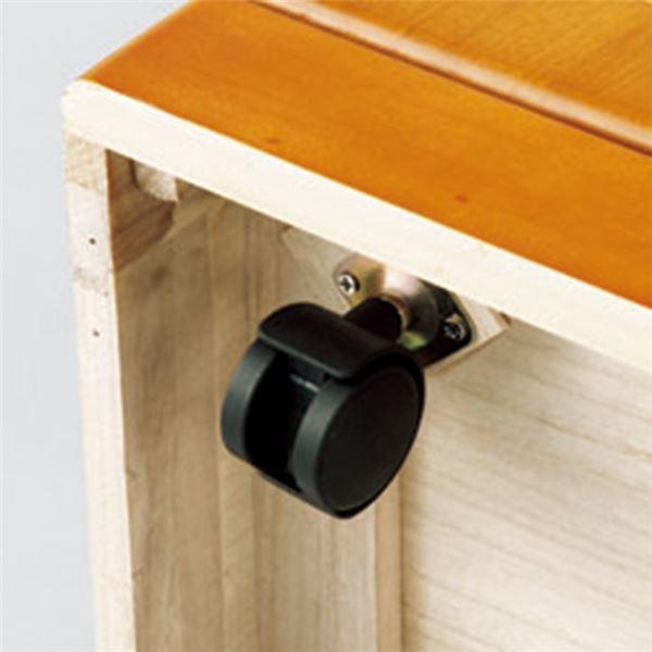 新・引き出しいっぱいキャビネット/リビング収納 【幅90cm】 ダークブラウン 木製 鍵 二口コンセント 隠しキャスター付き