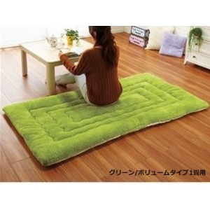 ふっかふか ラグマット/絨毯 【グリーン レギュラータイプ 1畳用 90cm×180cm】 長方形 ホットカーペット 床暖房可