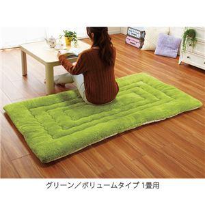 ふっかふか ラグマット/絨毯 【グリーン ボリュームタイプ 1畳用 90cm×180cm】 長方形 ホットカーペット 床暖房可