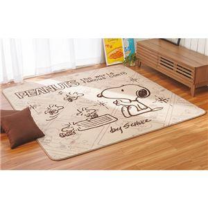 スヌーピー ボアラグマット/絨毯 【約180cm×180cm】 正方形 ホットカーペット 床暖房対応 あったかなめらか仕様 - 拡大画像