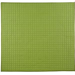 さわやかキルトラグマット/絨毯 【グリーン 約185cm×185cm】 洗える 綿100% 防滑 『グロワール』 〔リビング〕