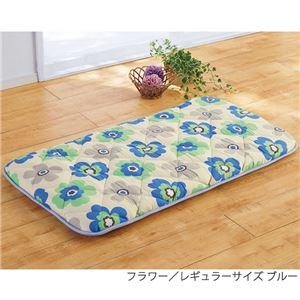 【TEIJIN】 ごろ寝長座布団/寝具 【ロングサイズ ブルー フラワー柄】 日本製 抗菌 防臭 防ダニ 側地:綿 - 拡大画像