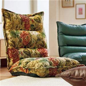 低反発 座椅子/パーソナルチェア 【2脚組 花柄】 幅54×奥行70〜116×高さ65cm リクライニング 合皮/合成皮革