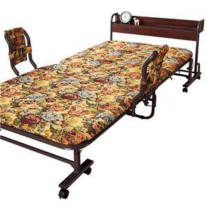 宮付き 折りたたみベッド 【セミダブル】 花柄 キャスター 手すり付き スチールフレーム 〔寝室 ベッドルーム〕