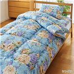 【TEIJIN】 清潔 布団セット/寝具 【シングル ブルー】 洗える 日本製 掛け布団 敷布団 枕付き 抗菌 防臭 保温性 〔寝室〕