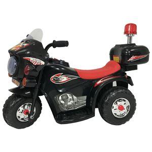 電動 ポリスバイク/おもちゃ 【黒バイ 幅80cm】 8〜12時間充電 30分使用可 ミュージックボタン サイレンボタン付き