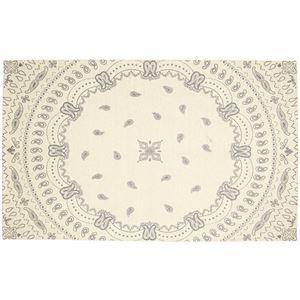 ゴブラン織り シェニールラグマット/絨毯 【約130cm×190cm アイボリー】 長方形 洗える 防滑 『リブサークル』 - 拡大画像