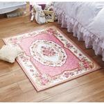 花柄 ラグマット/絨毯 【約90cm×120cm ピンク】 長方形 シェニール デザインプリント 〔リビング ダイニング ベッドルーム〕