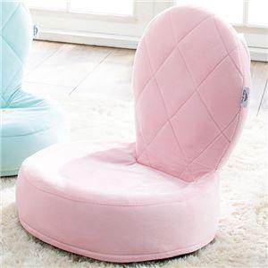 プリンセス調 座椅子 【ピンク】 40×40×45cm リボン付き 折りたたみ ウレタンフォーム 姫系 〔リビング ダイニング〕