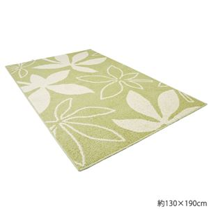 洗えるサラッと綿入りラグ 約190×190cm パキラグリーン