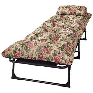枕&ごろ寝布団付き リクライニングベッド/寝具 【セミシングル 6段階 花柄】 幅60cm 折りたたみ スチールパイプ製フレーム - 拡大画像