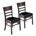 ダイニングチェア/食卓椅子 2脚組 【ブラック】 幅45cm 木製脚付き 合成皮革/合皮 ウレタン 〔リビング〕