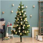 北欧風 クリスマスツリーセット 【 高さ150cm】 LEDイルミネーション・木製オーナメント付き 組立片付け簡単