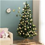 北欧風 クリスマスツリーセット 【高さ180cm】 LEDイルミネーション・木製オーナメント付き 組立片付け簡単