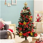 デラックス クリスマスツリーセット 【レッド×ゴールド】 高さ120cm LEDイルミネーション・豪華オーナメント付 組立片付け簡単