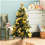 デラックス クリスマスツリーセット 【ゴールド】 高さ120cm LEDイルミネーション・豪華オーナメント付き 組立片付け簡単