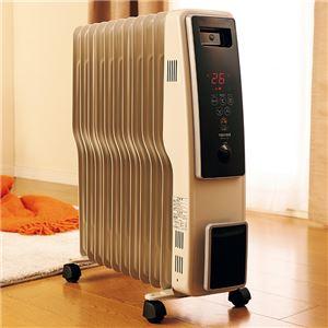 オイルヒーター 【グレイッシュホワイト】 幅約25cm 11枚フィン デジタル表示 キャスター付き 自動温度調節機能 温度設定5〜35℃ - 拡大画像