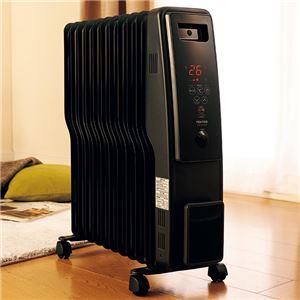 オイルヒーター 【ブラック】 幅約25cm 11枚フィン デジタル表示 キャスター付き 自動温度調節機能 温度設定5〜35℃ - 拡大画像