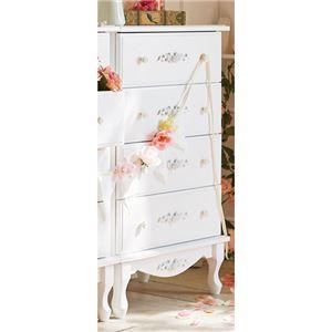 チェスト/衣類収納 【幅60cm】 木製脚付き 引き出し付き 『ピュアホワイトアンティーク飾り家具』 〔リビング〕 - 拡大画像