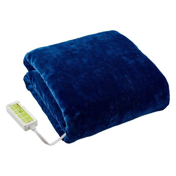 洗えるあったか 電気掛敷毛布/寝具 【ブルー】 約幅188×奥行130cm 洗濯機対応 〔ベッドルーム 寝室〕