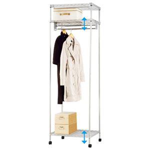 大量収納 頑丈 ハンガーラック/衣類収納 【幅61cm 1段掛】 可動棚付き 1.5倍掛け 組立品 〔ベッドルーム 寝室 リビング〕 - 拡大画像