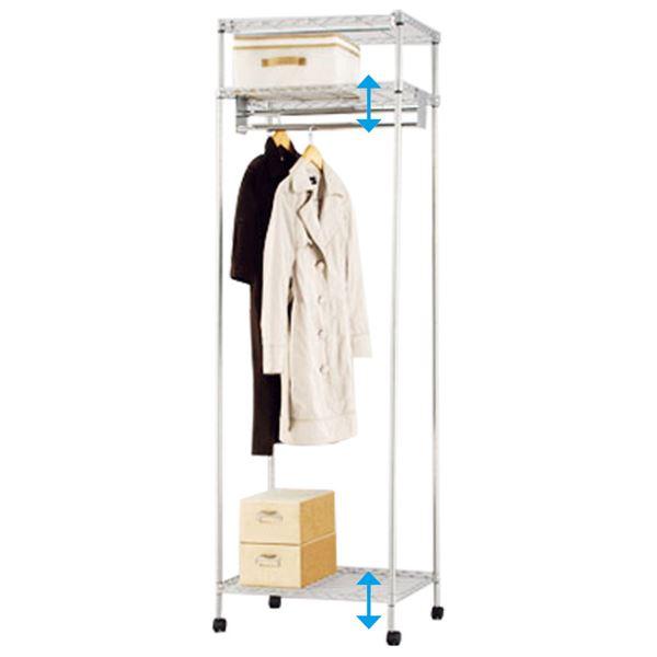大量収納 頑丈 ハンガーラック/衣類収納 【幅61cm 1段掛】 可動棚付き 1.5倍掛け 組立品 〔ベッドルーム 寝室 リビング〕