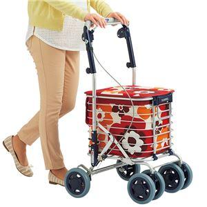 アルミワイヤー キャリーカート/ショッピングカート 【花柄レッド】 幅50cm 日本製 軽量 『スワレル』 〔お買い物〕 - 拡大画像