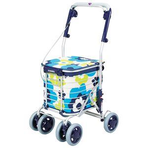 アルミワイヤー キャリーカート/ショッピングカート 【花柄ブルー】 幅50cm 日本製 軽量 『スワレル』 〔お買い物〕 - 拡大画像