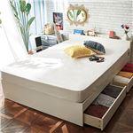 棚・雑誌収納付引出しベッド ダブル 【フレーム単品】 ホワイトオーク調  組立品〔収納ベッド 木製ベッド 収納付 コンセント収納付〕