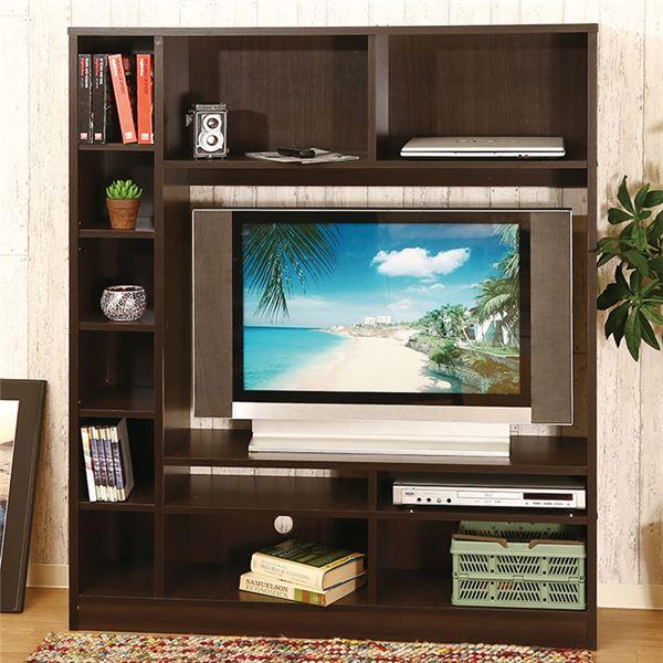 壁面 テレビボード/テレビ台 【ブラウン】 約幅120cm 可動式 サイド棚 コード穴付き 組立品 〔リビング ダイニング〕